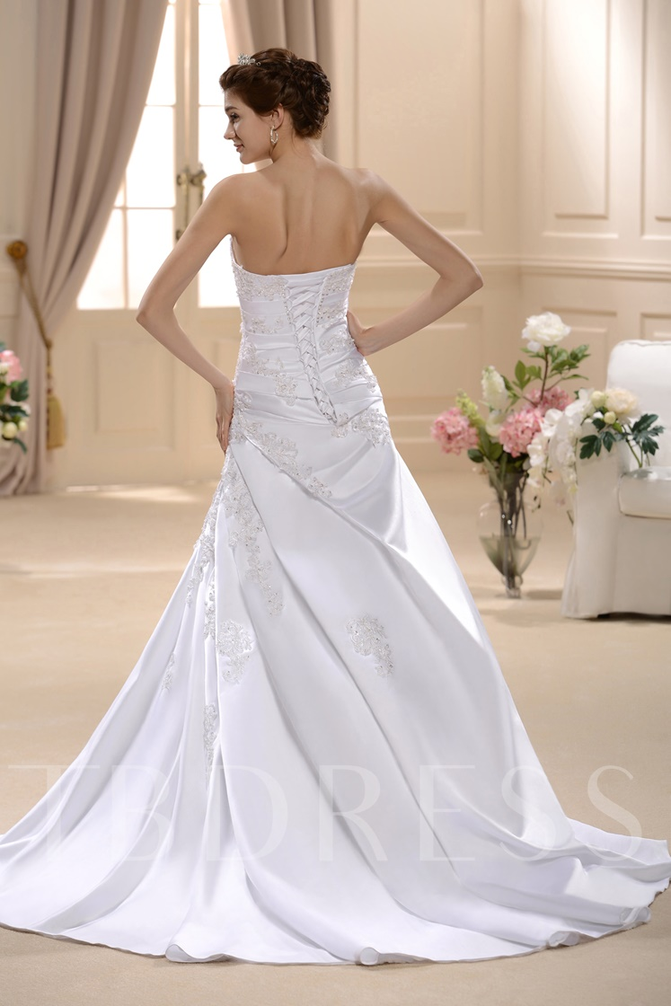 Strapless A-Line Embroidery Beading Wedding Gown