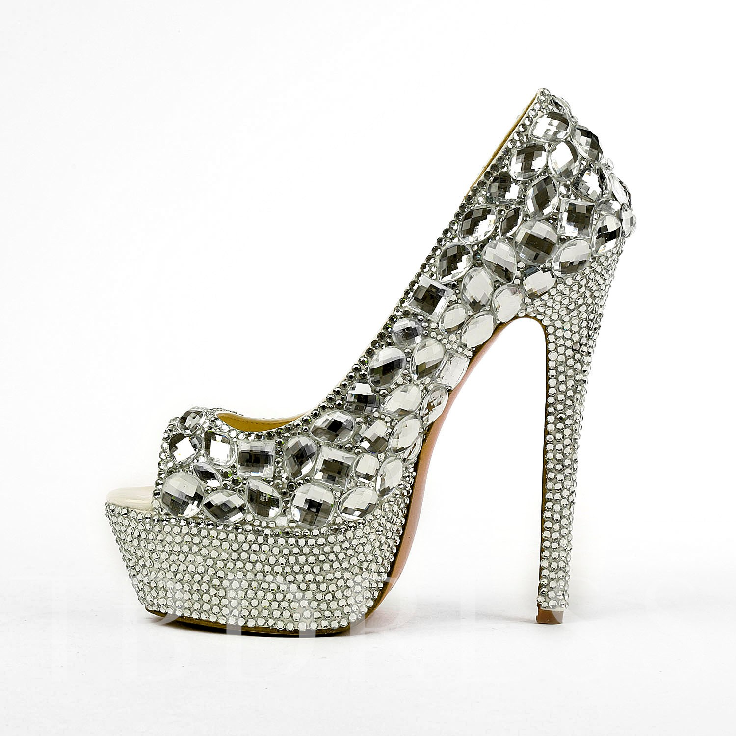 Silver Opened-Toe Stiletto High Heel Women's Wedding Shoes