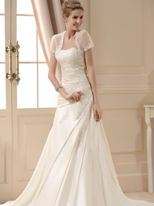 Beaded Appliques Wedding Dress With Jacket