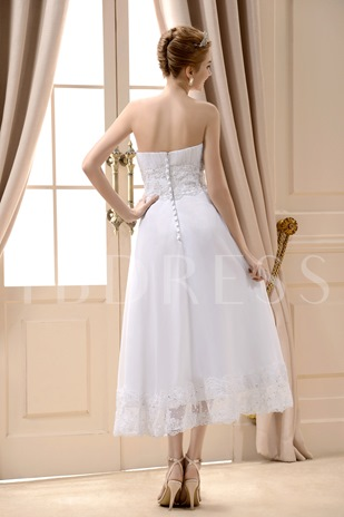 A-Line Strapless Tea-Length Chiffon Beach Wedding Dress