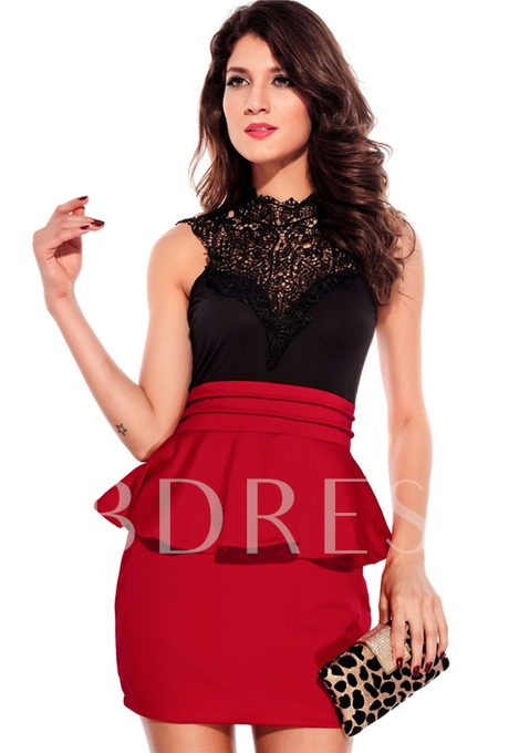 Entrancing Hollow-out Back Peplum Red Dress
