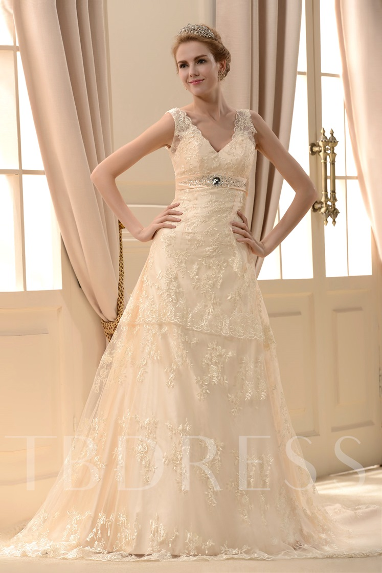Empire V-Neck Straps Floor-length Chapel Lace Wedding Dress