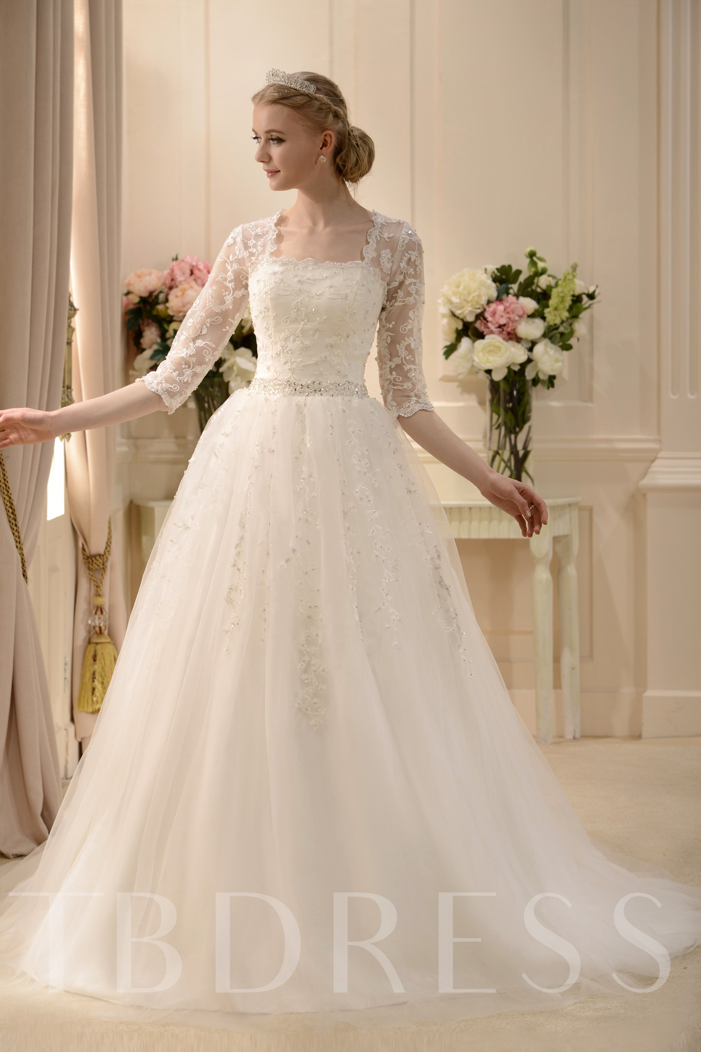 Image of A-Line Square Neck 3/4-Length Sleeves Beaded Wedding Dress