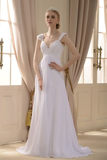 Empire V-neck Sweep Train Wedding Dress