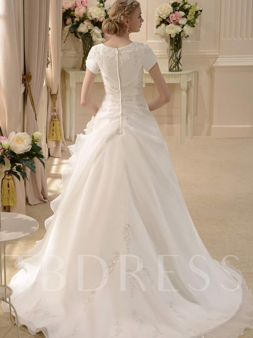 Short Sleeve Appliques Beading Wedding Dress