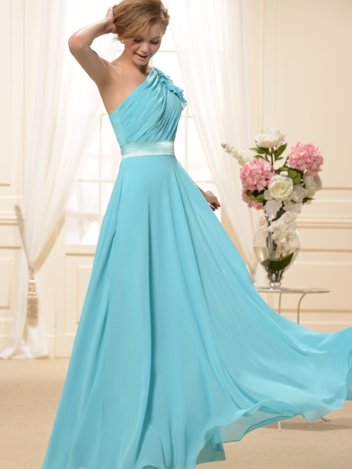Ruched A-Line One-Shoulder Floor-Length New Bridesmaid Dress