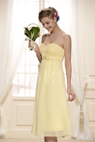 Ruched Empire Waist Knee-Length Bridesmaid Dress