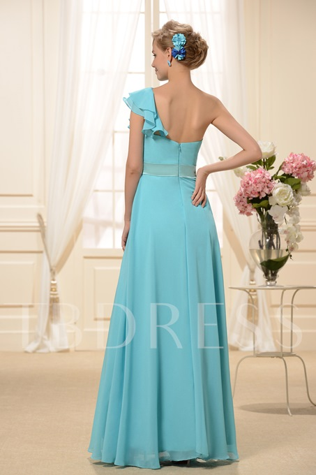 Ruched A-Line One-Shoulder Bridesmaid Dress
