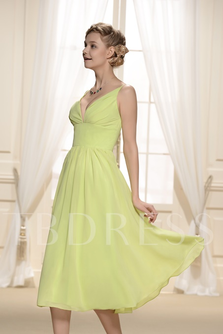 Designer Draped Tea-Length V-Neck Bridesmaid Dress
