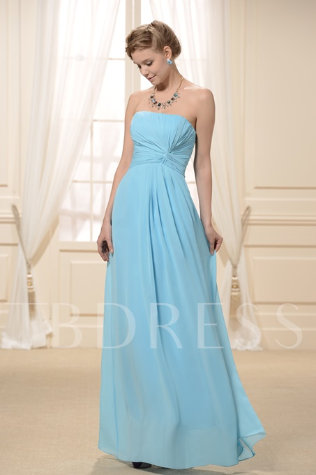A-Line Strapless Bridesmaid Dress With Pleats