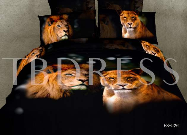A Couple of Lions Printed Cotton 4-Piece Black 3D Bedding Sets/Duvet Covers