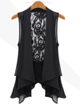 Chiffon Lace Long Plus Size Vest