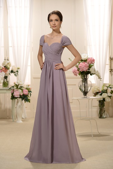 Pleats A-Line Cap Sleeve Mother of the Bride Dress