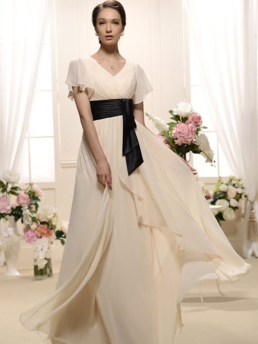 Ruffles A-Line V-Neck Short-Sleeves Floor-Length Bridesmaid Dress