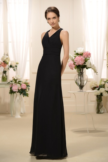 Ruched Halter Floor-Length Bridesmaid Dress
