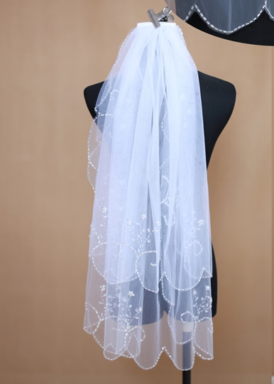 Elbow Two-tier Beaded Edge Wedding Veil