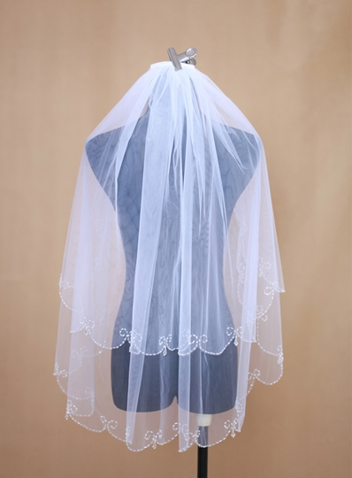 Elbow Length Beading Wedding Veil