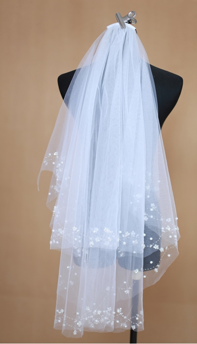 Elbow Length Flower Beading Edge Wedding Veil