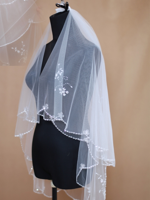 Elbow Flower Beading Wedding Veil