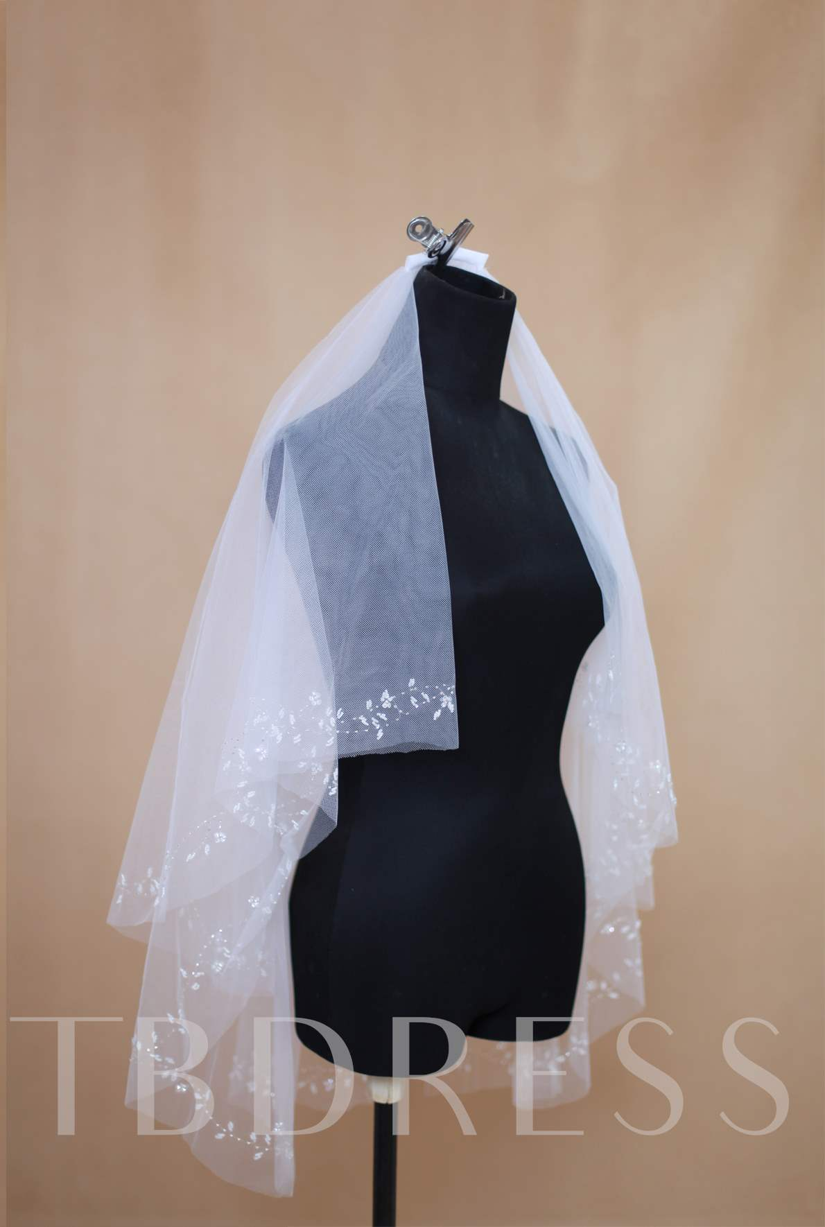 Outstanding Two-Layer Elbow Beading Wedding Veil