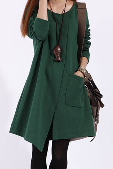Korean Style Cotton Women's Long Sleeve Dress