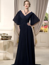 Half Sleeves V-Neck Pleats Mother Of The Bride Dress