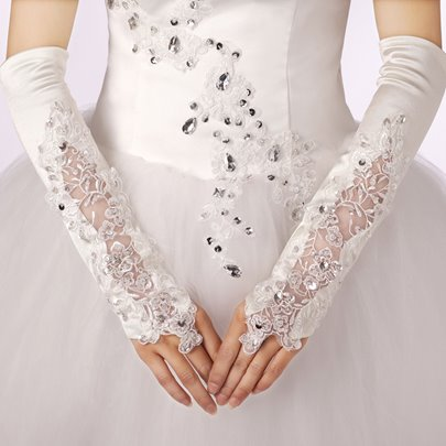 Long Fingerless Beading Applique Wedding Gloves
