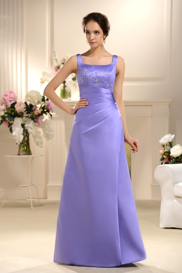 Square Neck Beaded Column Bridesmaid Dress