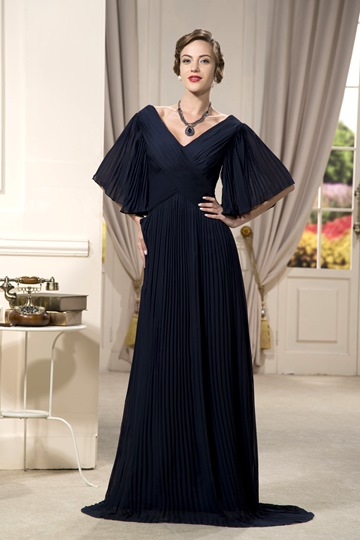 half sleeves v-neck floor-length mother of the bride dress