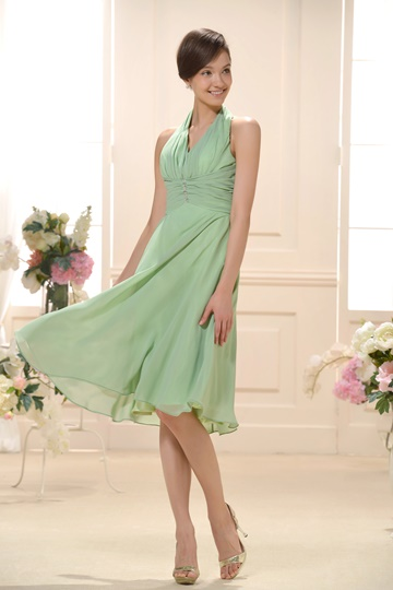 Ruched A-line V-neck Tea-Length Bridesmaid Dress
