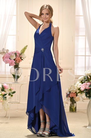 Ruched V-Neck Floor-length Bridesmaid/Prom Dress
