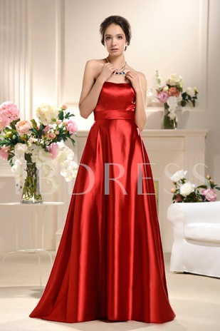 A-Line Strapless Sleeveless Bowknot Floor-Length Bridesmaid Dress