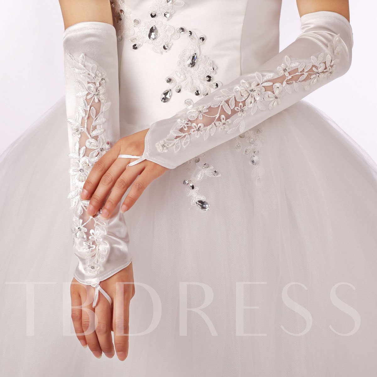 Long Fingerless Satin Applique Wedding Gloves