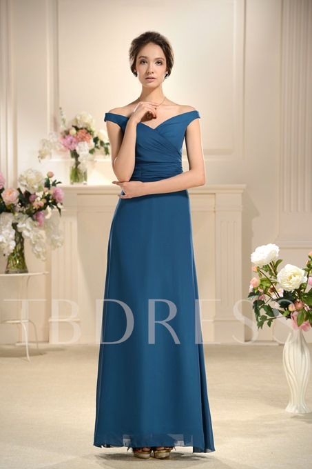 Off the Shoulder Ruched Bridesmaid Dress