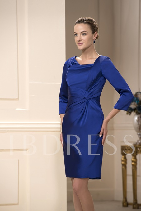 Ruched A-Line Square Neckline Knee-Length Mother Dress