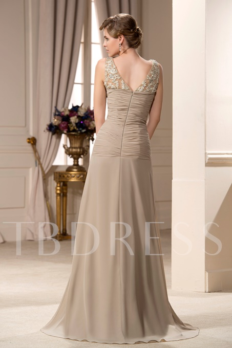 Sheath Pleated Appliques Mother of the Bride Dress