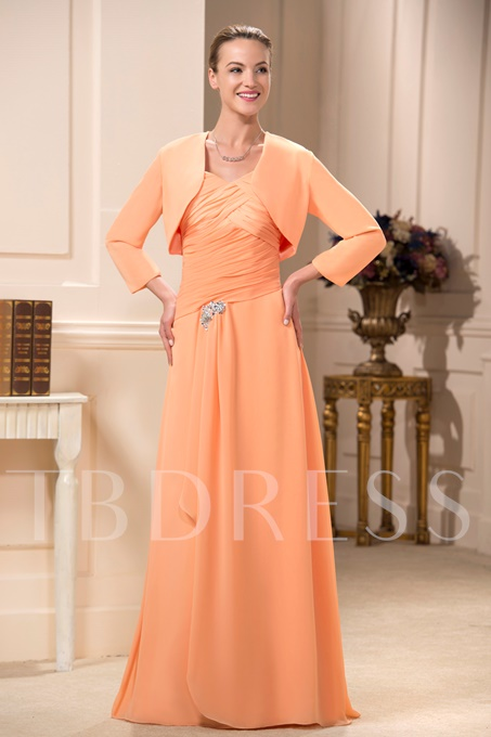 Spaghetti Straps Pleats Mother Dress With Jacket