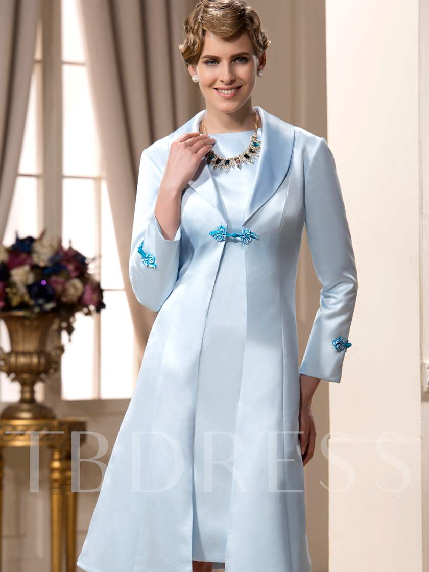 Column Knee-Length Mother of the Bride Dress With Jacket