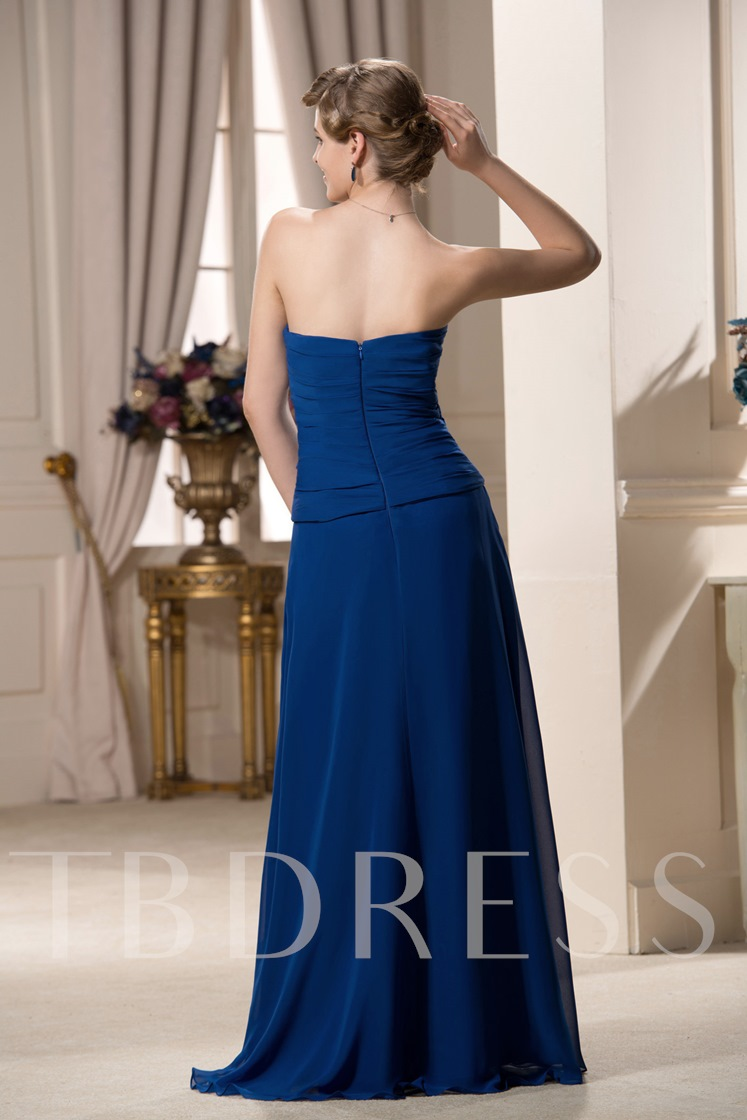 Ruched A-Line Zipper-Up Strapless Mother of the Bride Dress