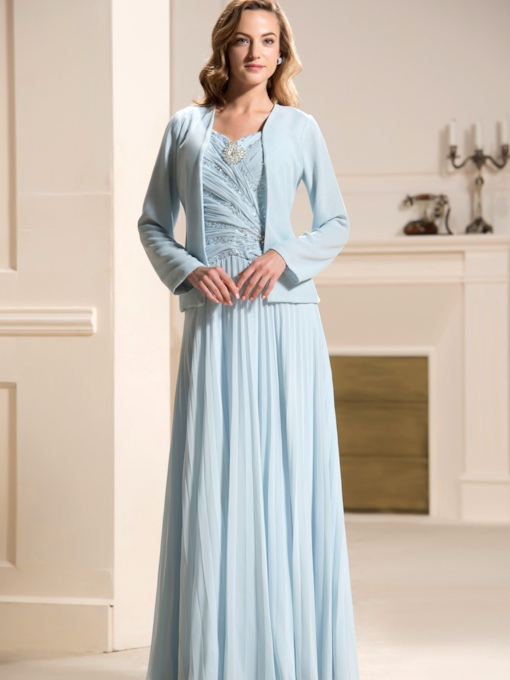Pleats Sequins Beading Mother of the Bride Dress with Jacket