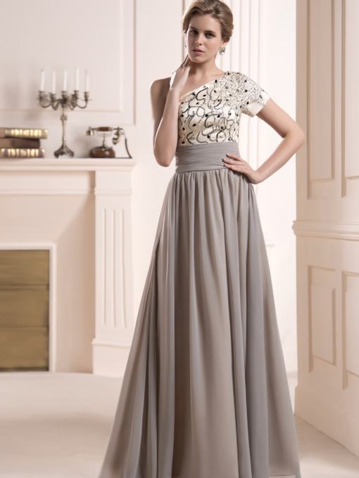 Sequins Beaded One Shoulder Mother of the Bride Dress