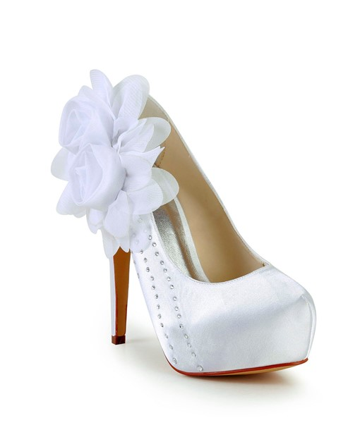 White Flower Satin Upper Stiletto Prom Shoes