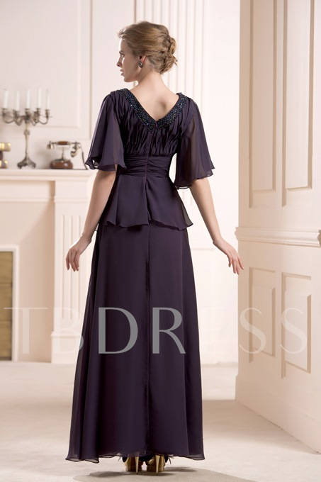 Beaded Floor-Length V-Neck Half Sleeves Mother of the Bride Dress