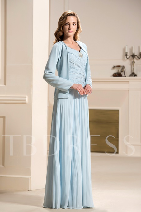 Pleats Straps Beaded Mother of the Bride Dress With Jacket