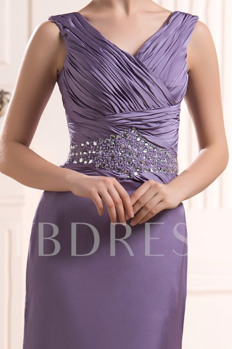 d Beaded Pleats Sweep/Brush Train V-Neck Mother of the Bride Dress