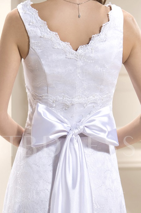 A-line V-neck Sleeveless Assymetry-Length Lace Wedding Dress