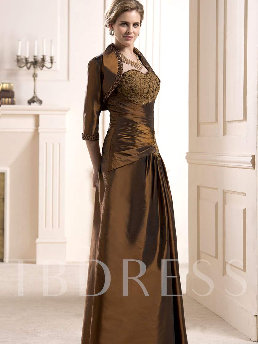 Beaded Appliques Sheath Mother of the Bride Dress
