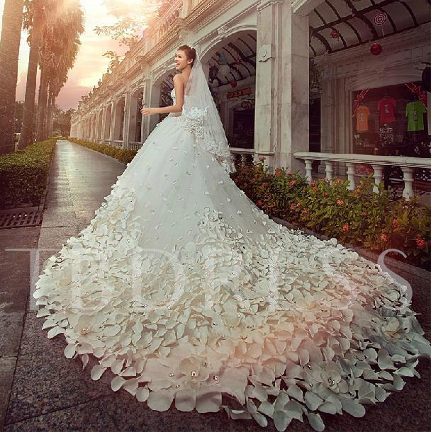 Strapless Beading Appliques Cathedral Train Wedding Dress