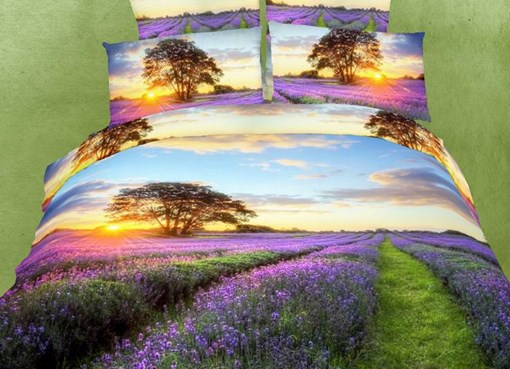 Romantic Lavender with Sunset Scene 4 Piece Bedding Sets/Duvet Covers