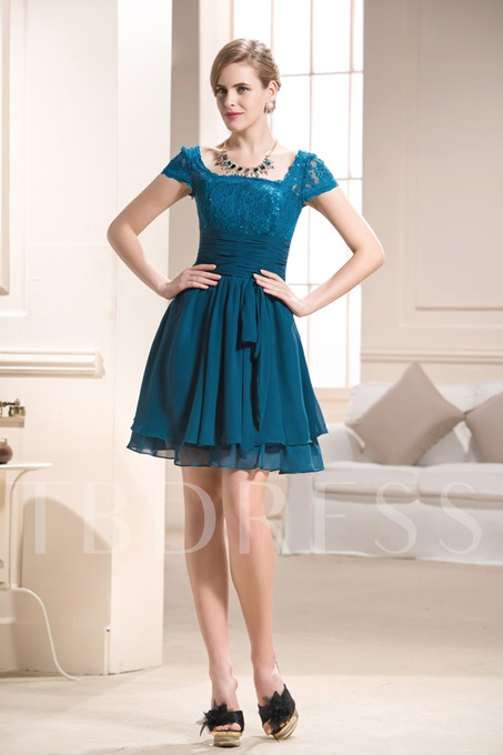Empire Square Neckline Knee-Length Mother of the Bride Dress